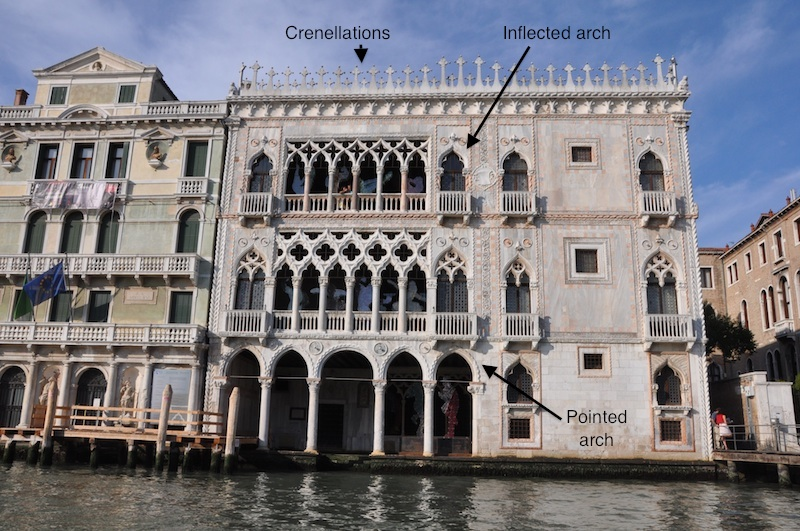 The crenellations at the top of the building and inflected arches are in a Moorish style.