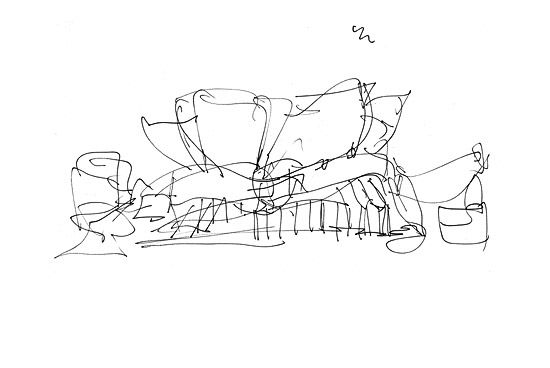 Gehry-esque sketch of the Disney Concert hall.