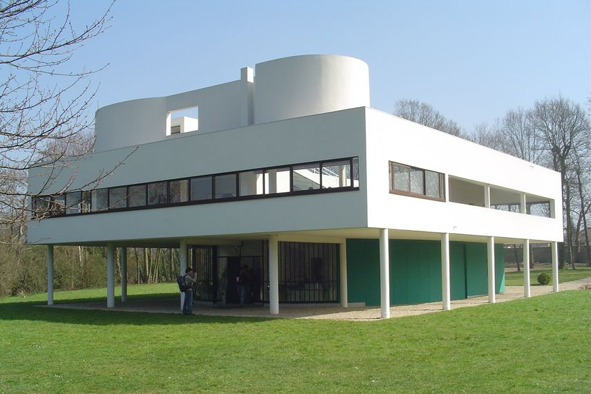 The Villa Savoye (1929) is was a trans-formative project for Le Corbusier's career and the founding principles of the International Style.  The way it detaches itself from its surrounding context, echoes Le Corb's personal interest in the Industrial age and the way the house is seen as a mechanised object for living.