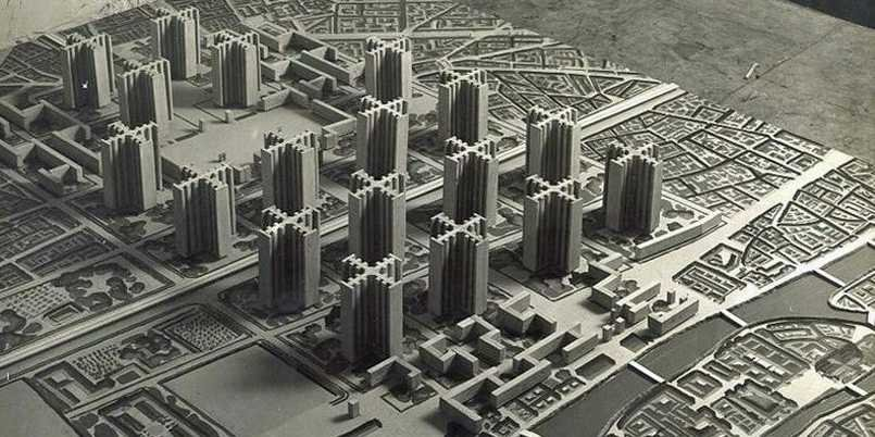 Ville Radieuse (The Radiant City) an unrealised master plan, present in 1924.