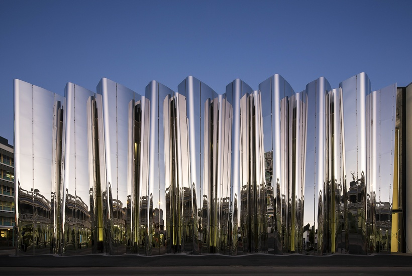 Len Lye Centre in New Plymouth, New Zealand, has a highly polished stainless steel facade.