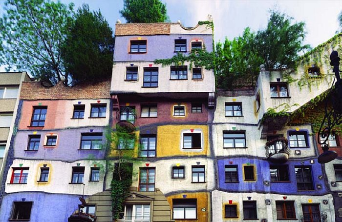 An exemplar of an existing Hundertwasser building.