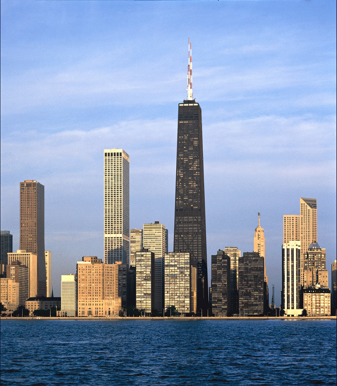 John Hancock Center, Chicago, USA, was the world's second highest building when it was built in 1969. It was a collaboration between Fahzul Khan (engineer) and Bruce Graham (architect).