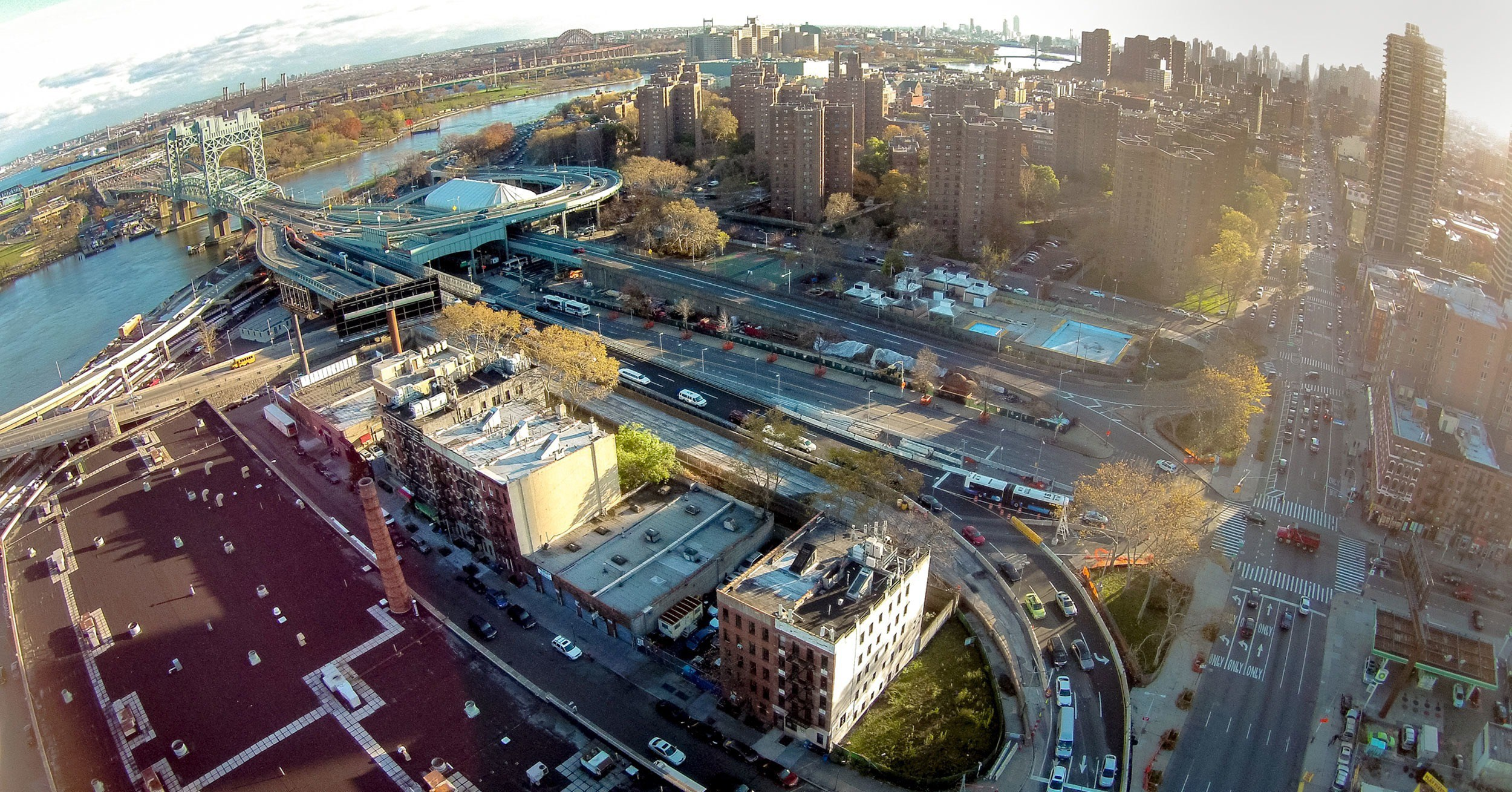 Robert F. Kennedy Bridge off ramp on the East side of Harlem.