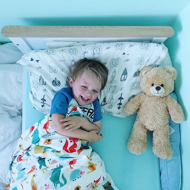 He loves his Bed time 'Honey' bear from #bearfactory 🤗