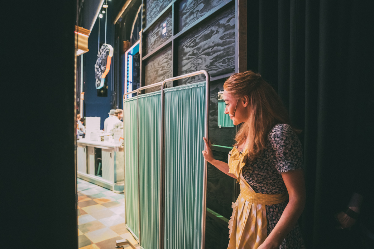 In the wings with Betsy! See Waitress from the audience at the Brooks Atkinson Theatre. © Broadway.com • Production photos by Caitlin McNaney