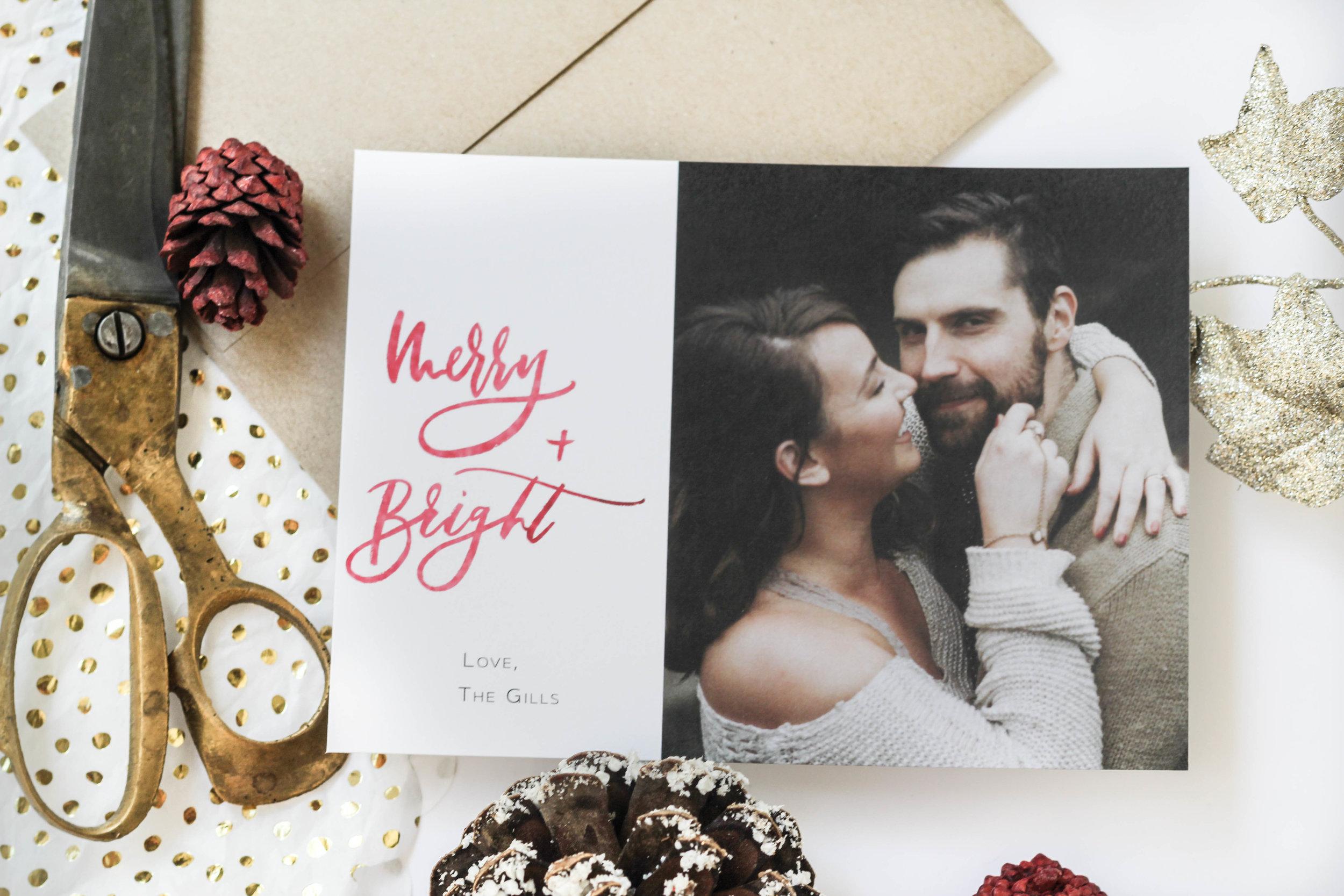 Merry + Bright Christmas Card
