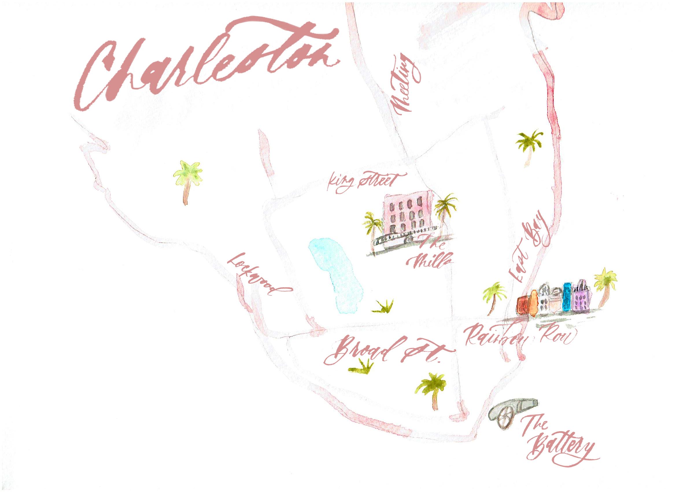 watercolor map of Charleston from Lauren Antoniaa