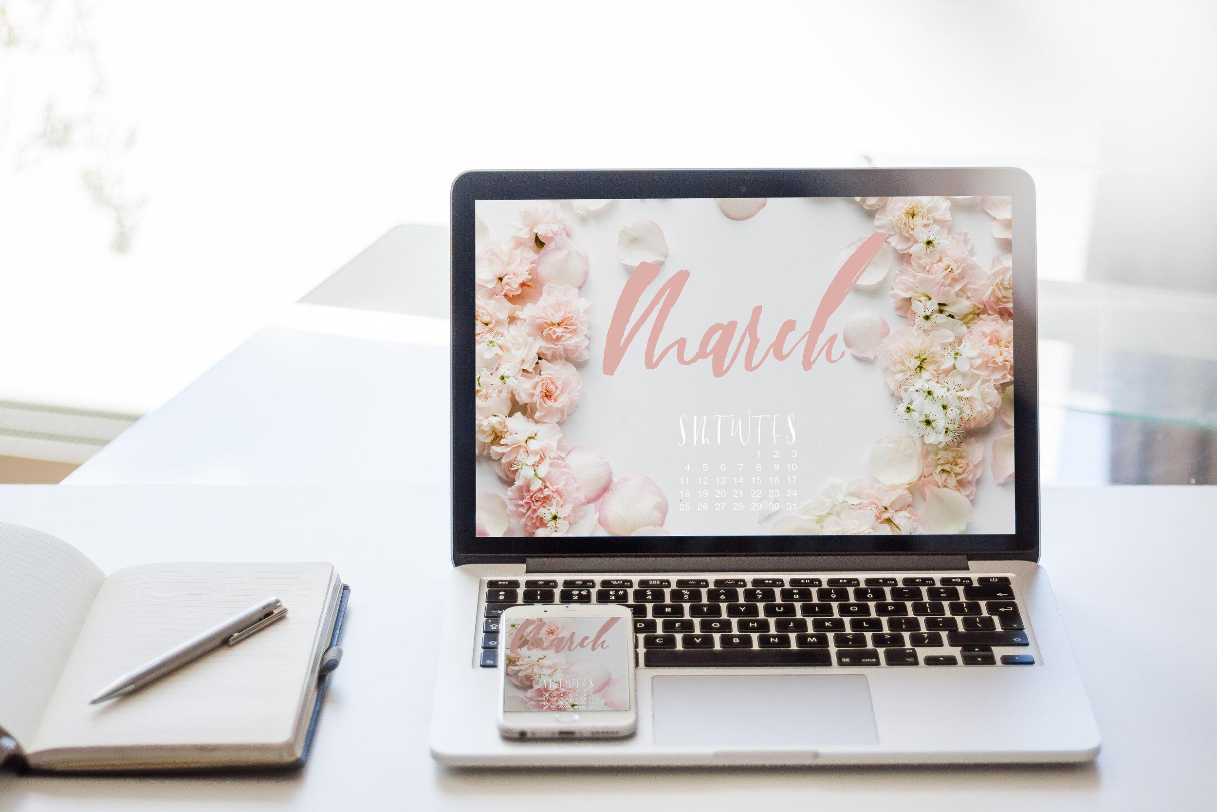 Free March 2018 Calendar Desktop and iPhone Wallpaper