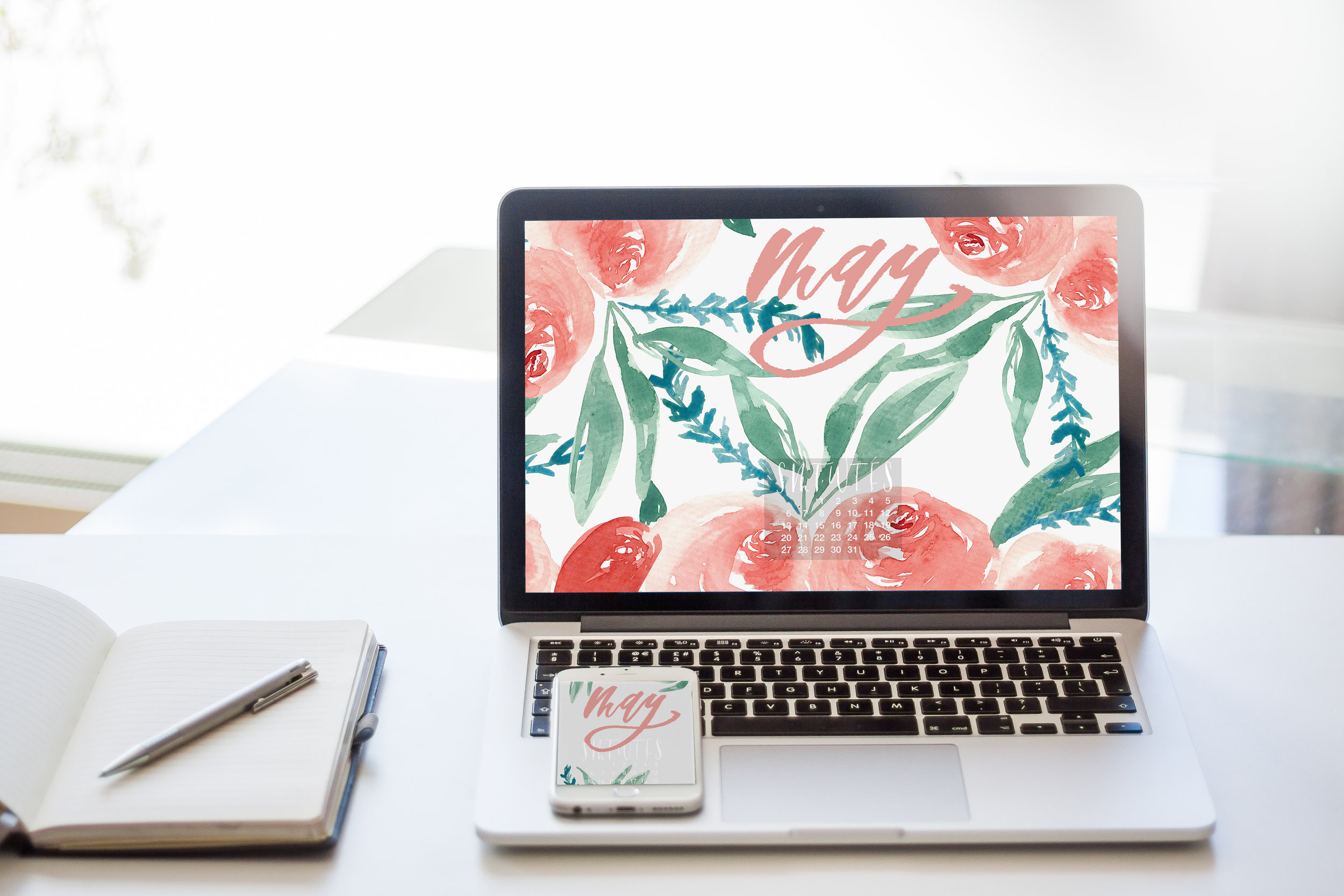 Free iphone and desktop wallpaper May 2018. watercolor florals and brush calligraphy.