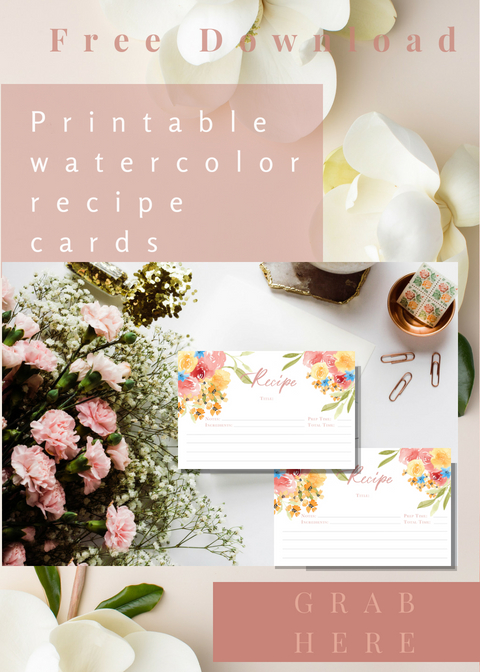 Free printable watercolor recipe cards