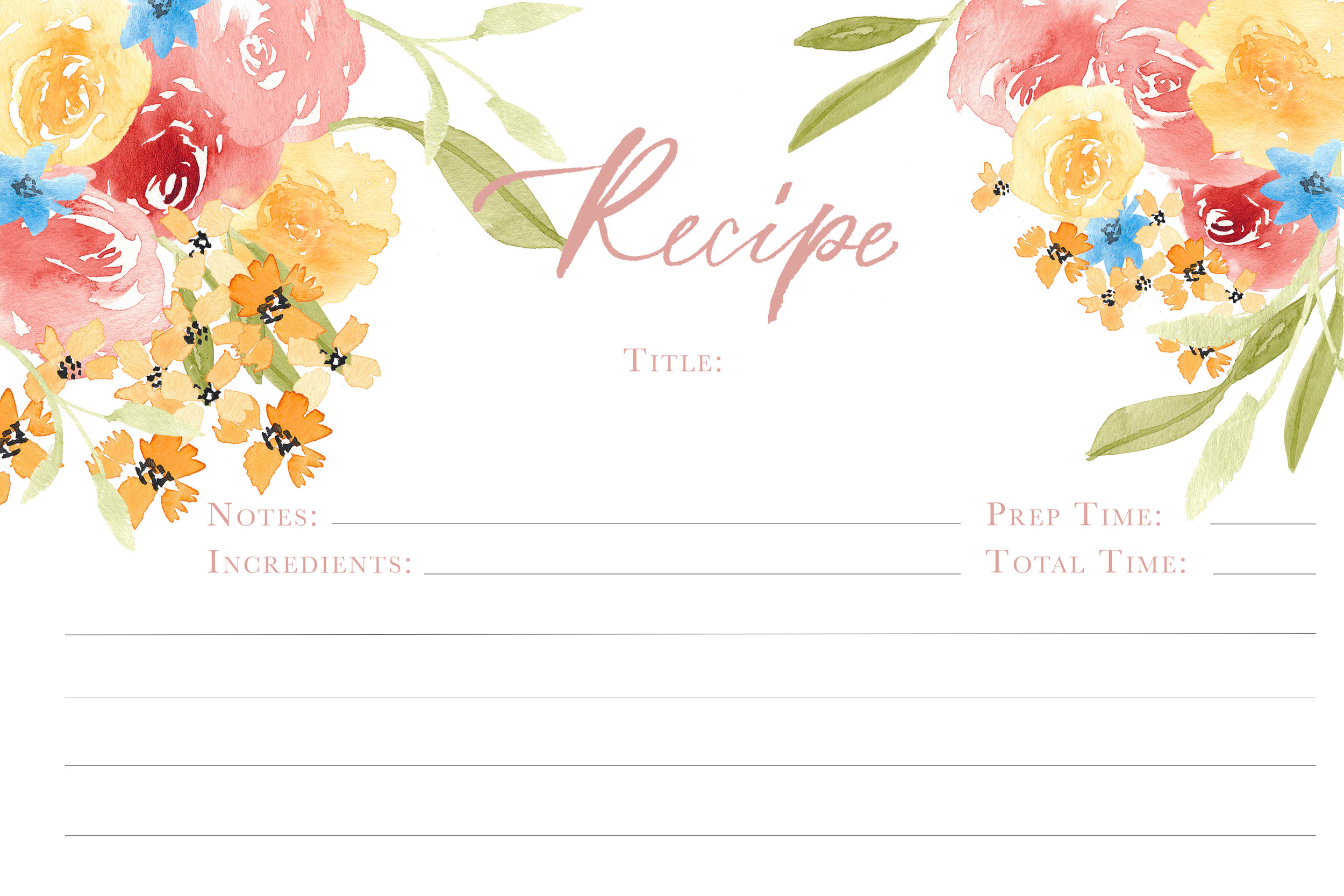 Free downloadable recipe card watercolor florals brush calligraphy