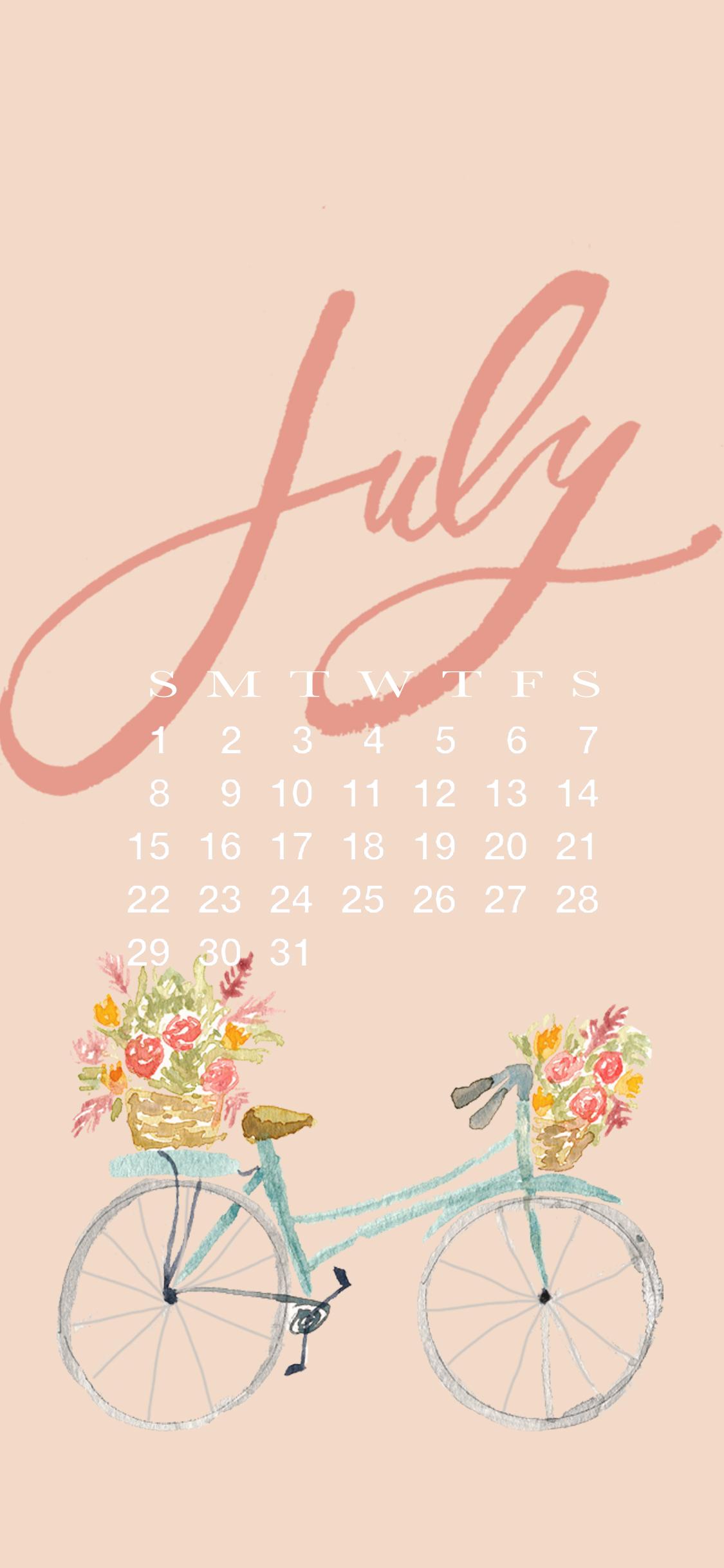 July iPhone Wallpaper - 2018 Calendar