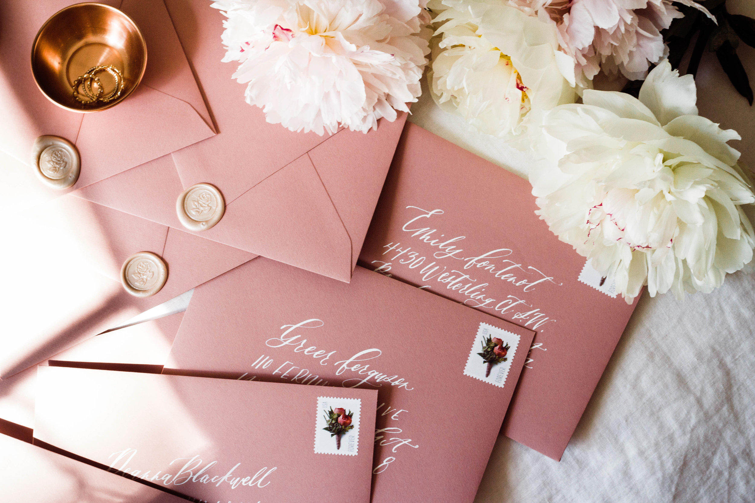 Rose Blush Mauve Envelopes with White Calligraphy | Custom Luxury Wedding Stationery | Lauren Antoniaa Atlanta based calligrapher