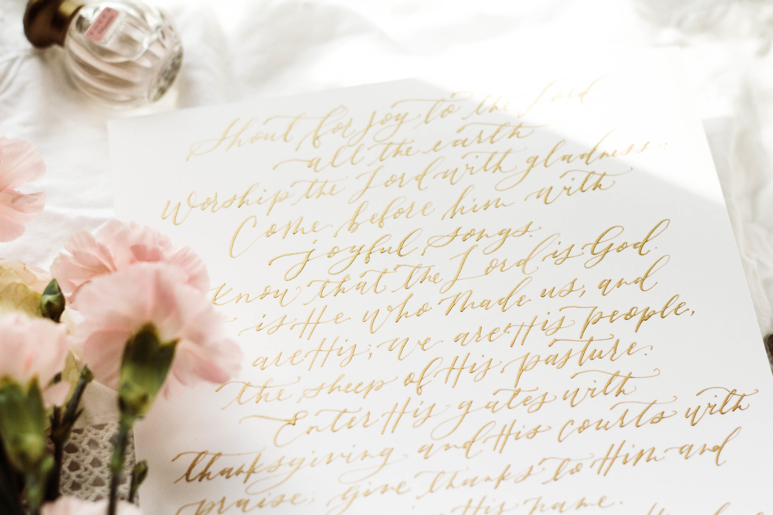 Hand written Gold calligraphy wedding vows | Custom Luxury Wedding Stationery | Lauren Antoniaa Atlanta based calligrapher