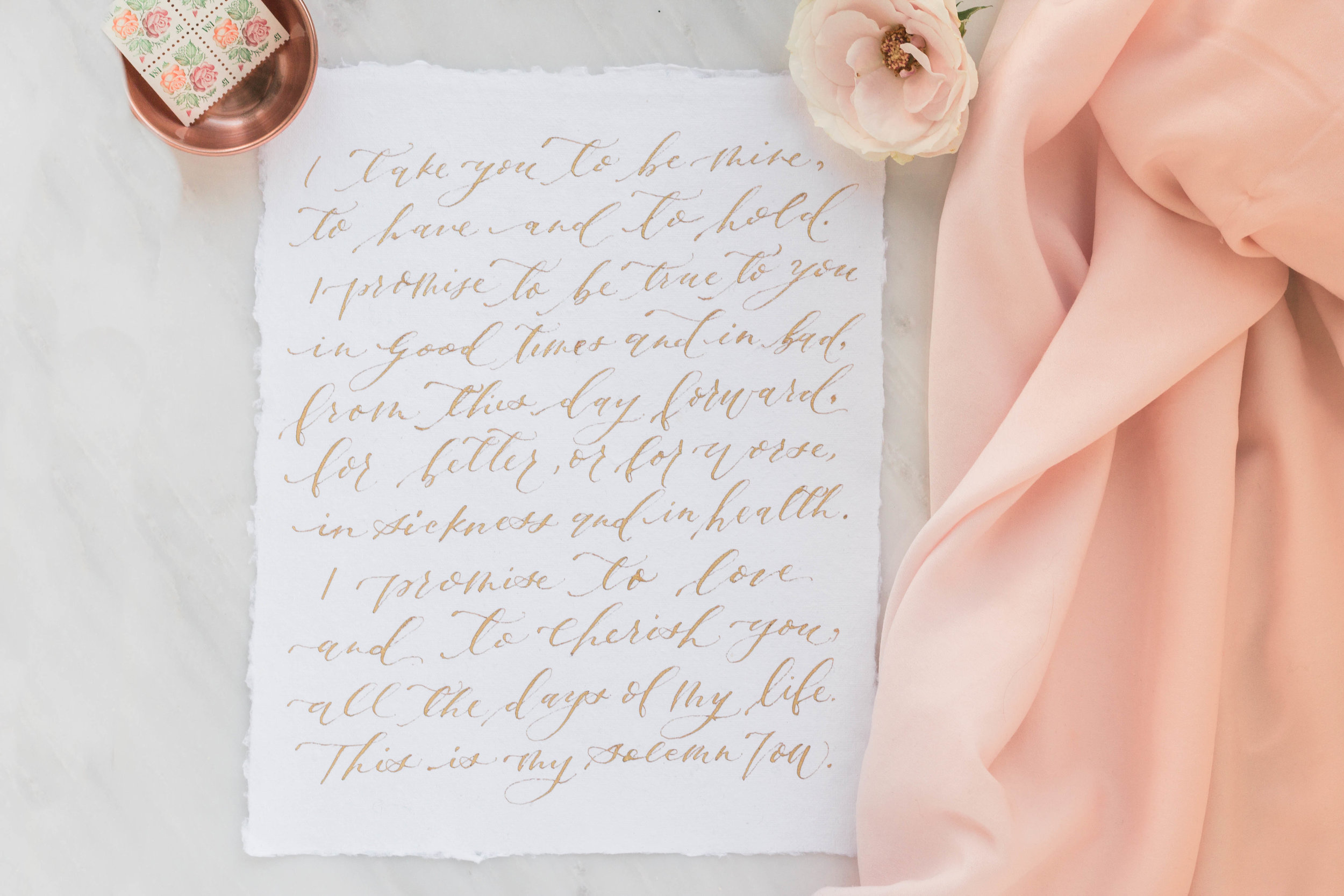 Hand written Gold calligraphy wedding vows on handmade paper | Custom Luxury Wedding Stationery | Lauren Antoniaa Atlanta based calligrapher
