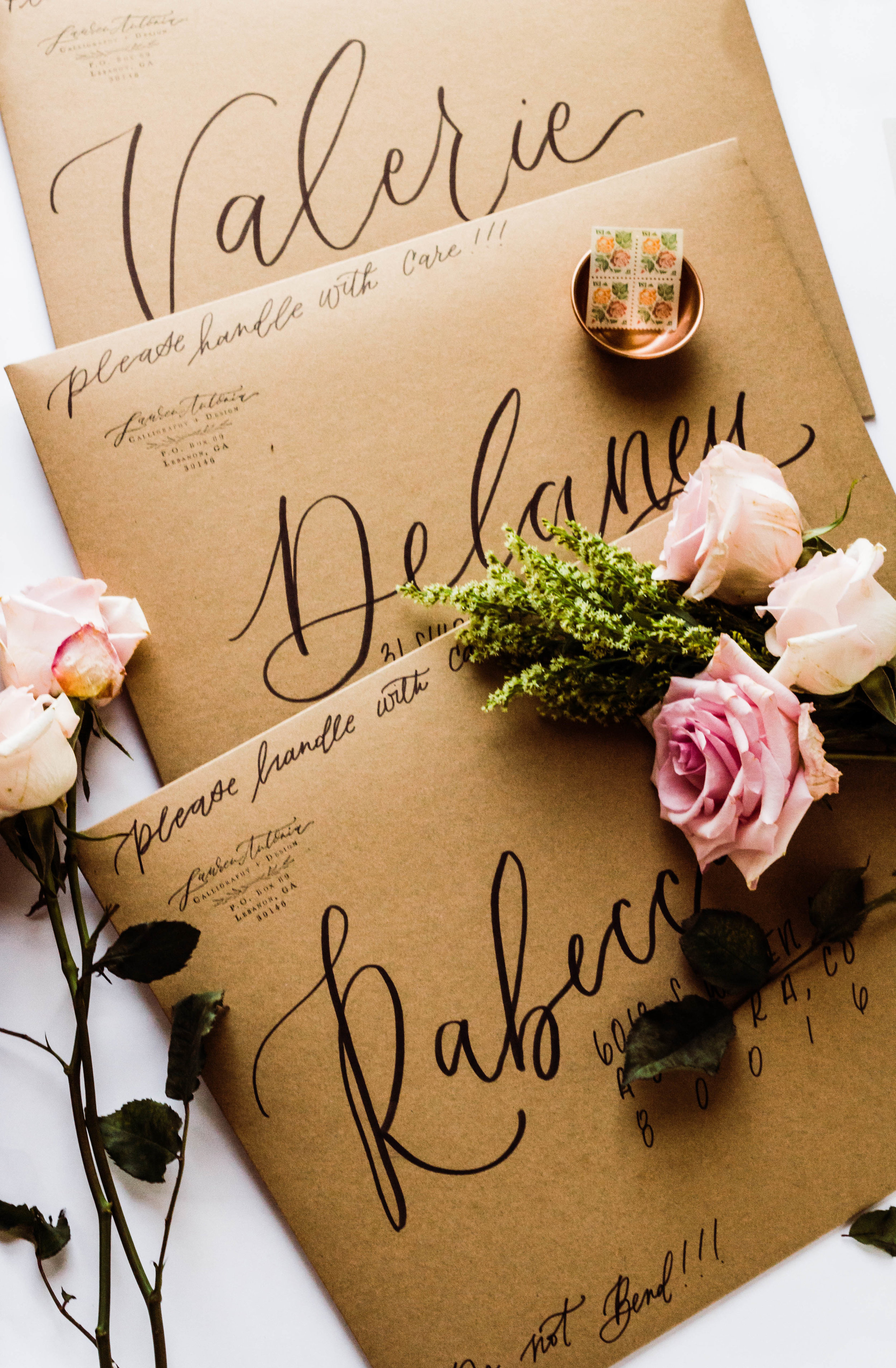 Hand lettered Kraft Envelope packaging   Custom Luxury Wedding Stationery   Lauren Antoniaa Atlanta based calligrapher