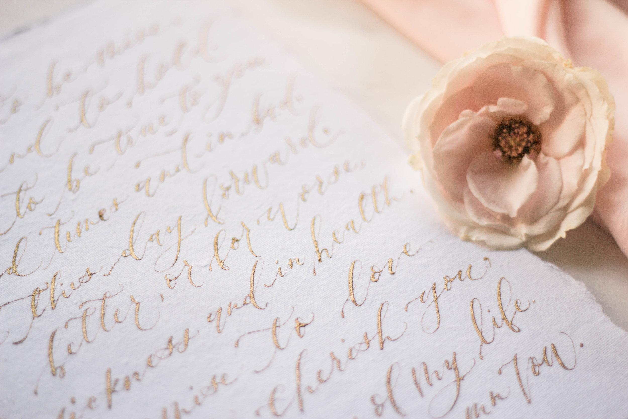 Gold Calligraphy Wedding Vows | Custom Luxury Wedding Stationery | Lauren Antoniaa Calligraphy and Design