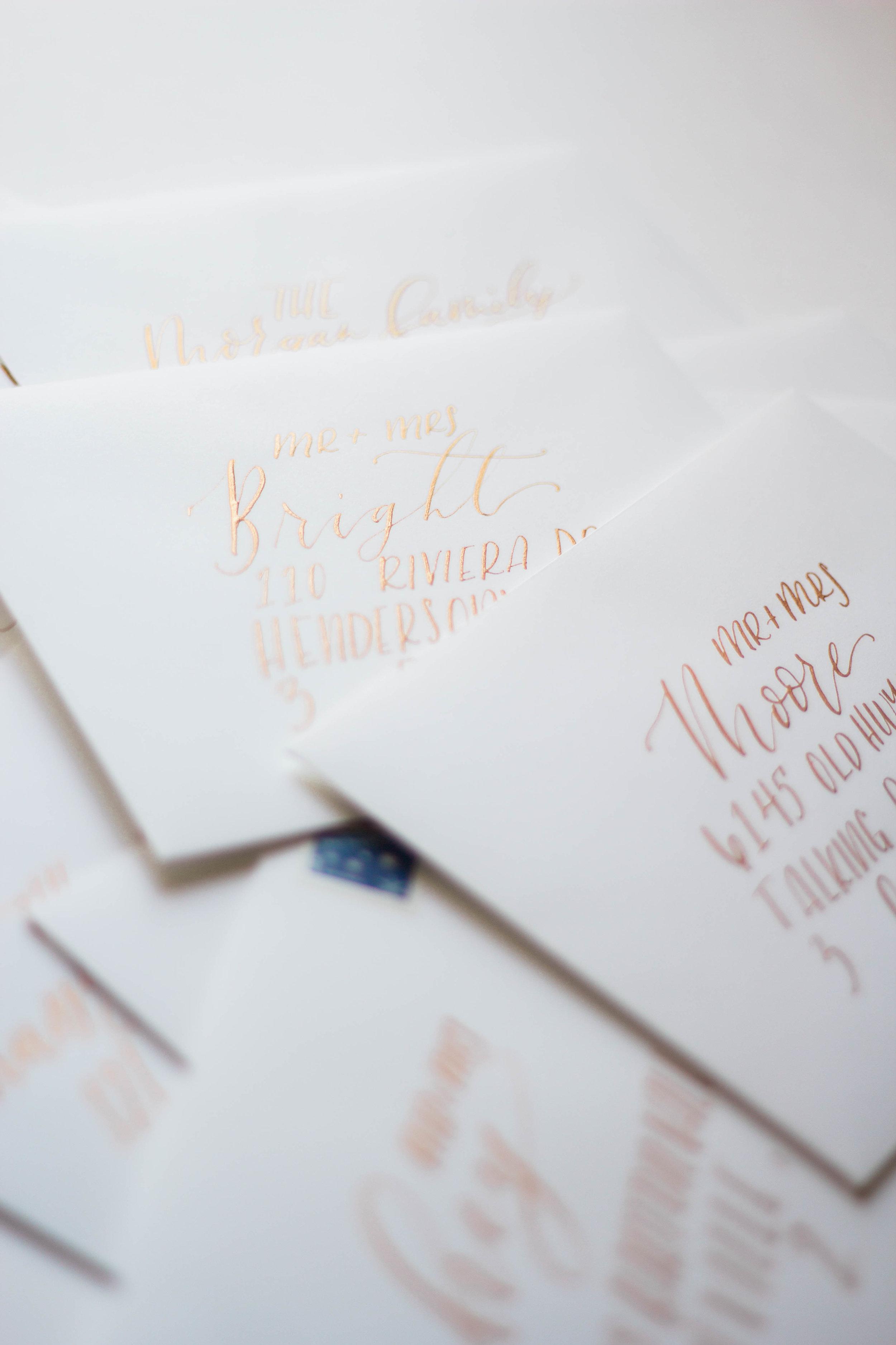 Gold Calligraphy White Envelopes Wedding Invitation | Custom Luxury Wedding Stationery | Lauren Antoniaa Calligraphy and Design