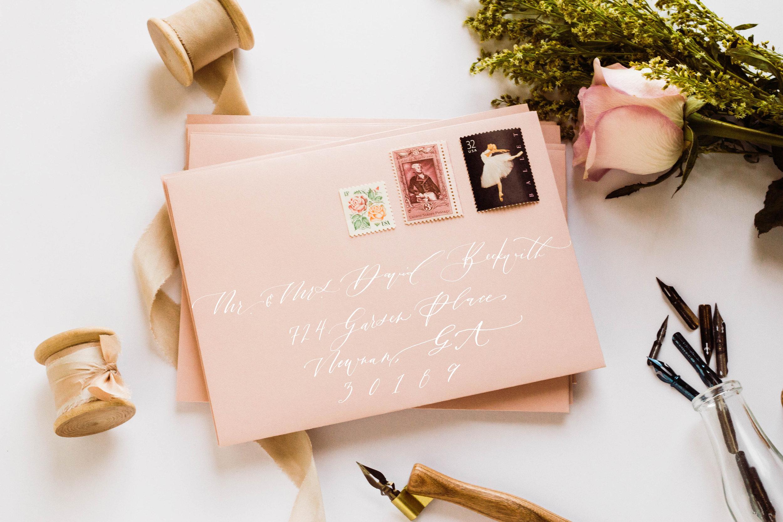 Blush Envelope White Calligraphy Ink Wedding Invitation | Custom Luxury Wedding Stationery | Lauren Antoniaa Calligraphy and Design