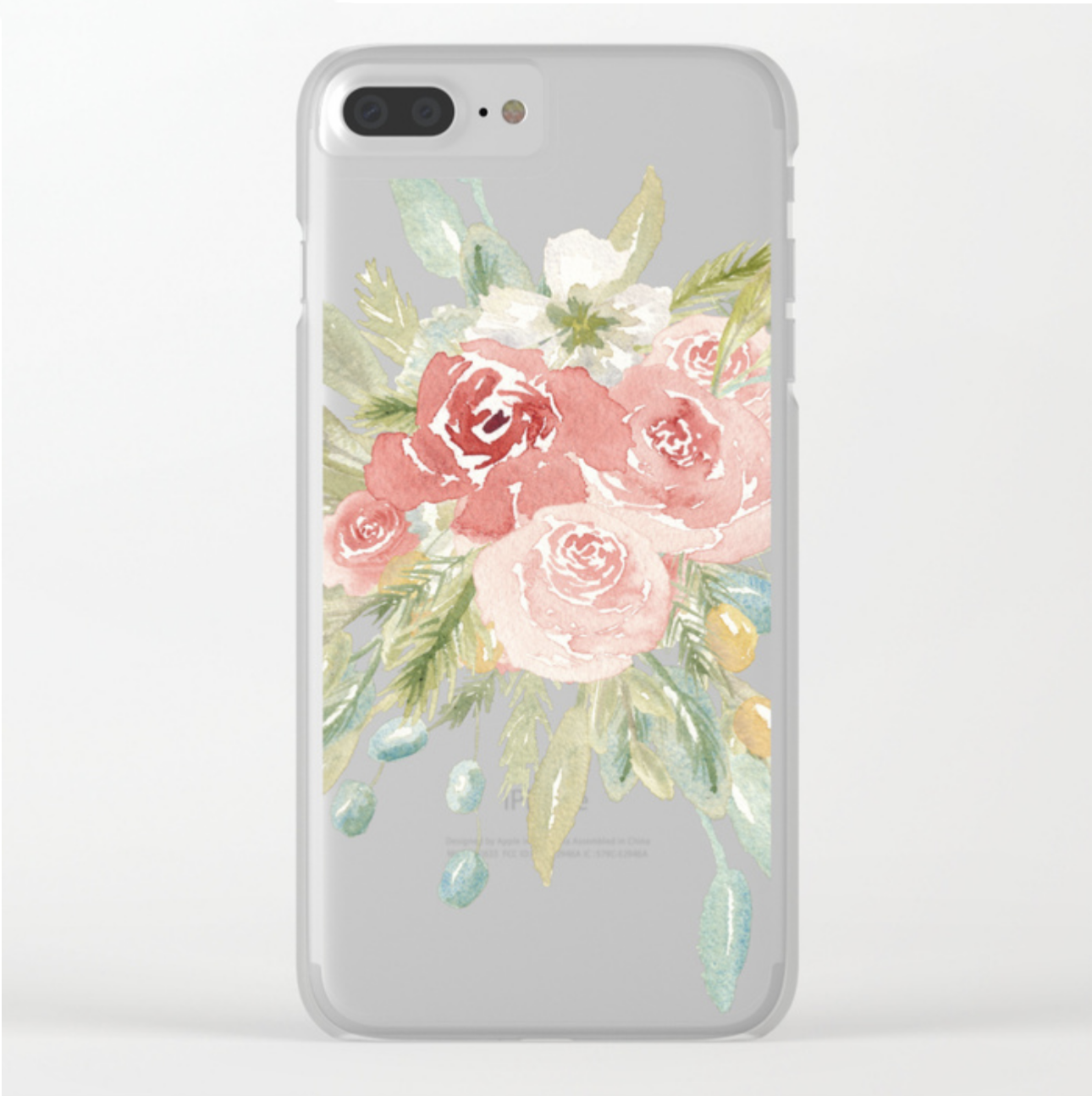 Loose Watercolor Floral Bouquet Clear