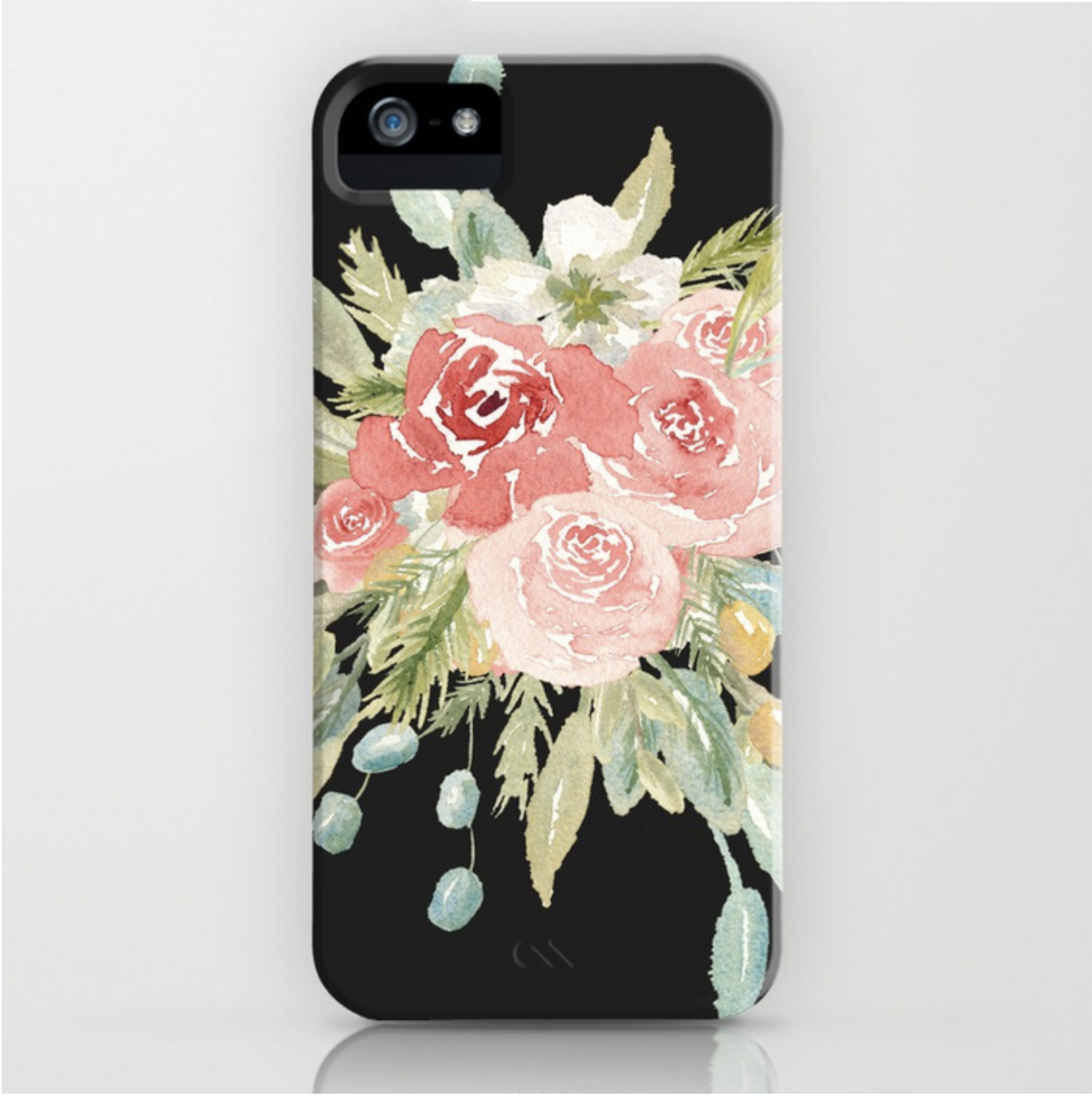 Loose Watercolor Floral Bouquet Black
