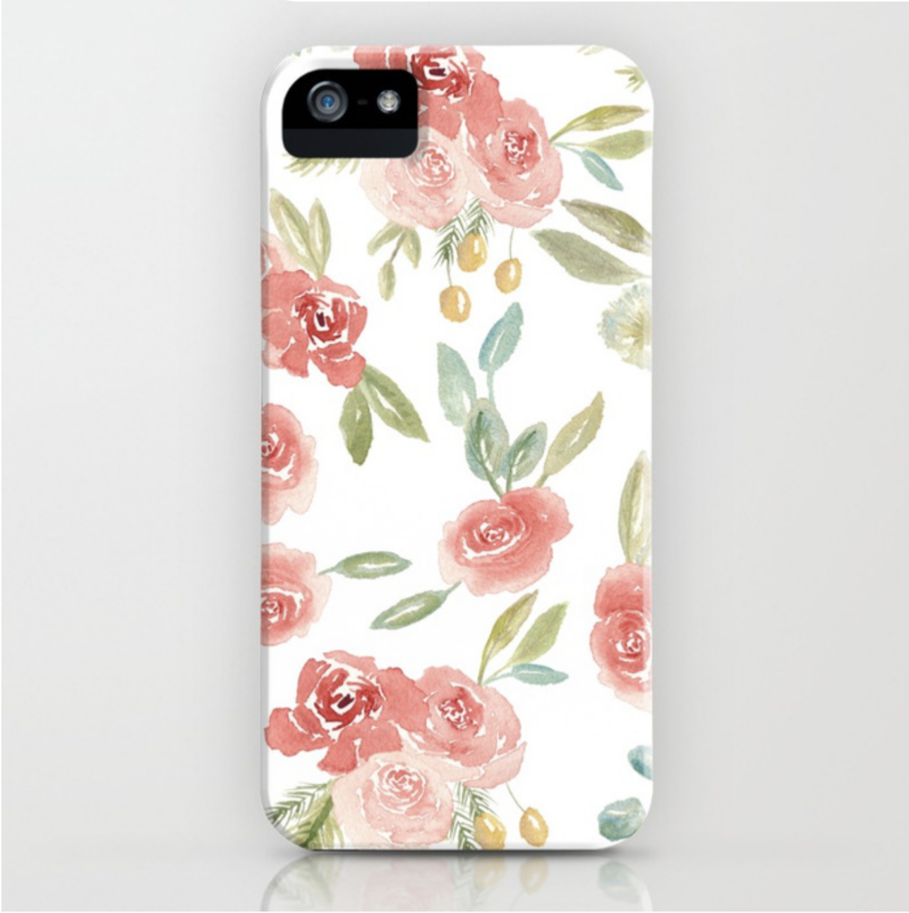 Loose Watercolor Floral Pattern White