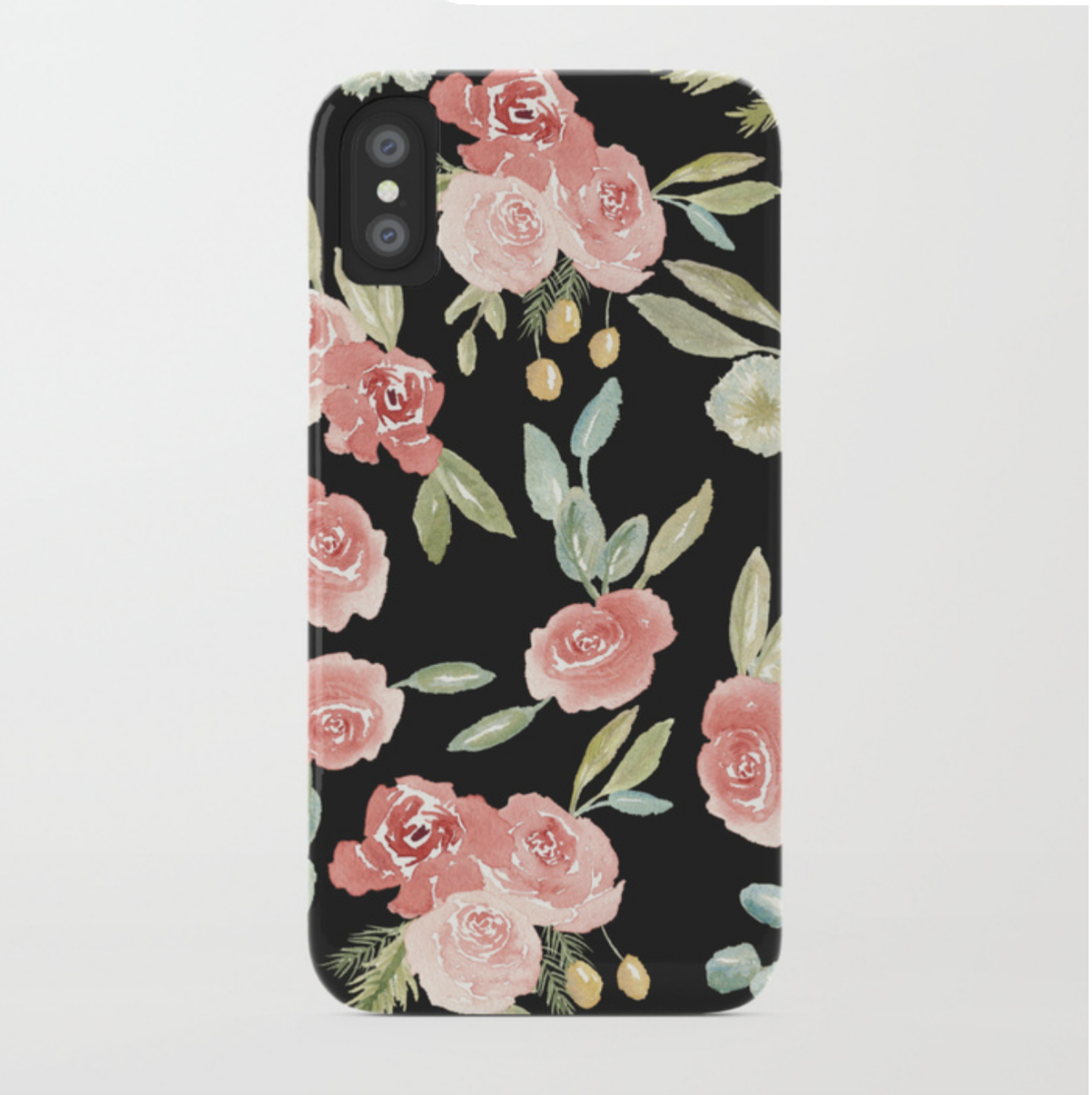 Loose Watercolor Floral Pattern Black