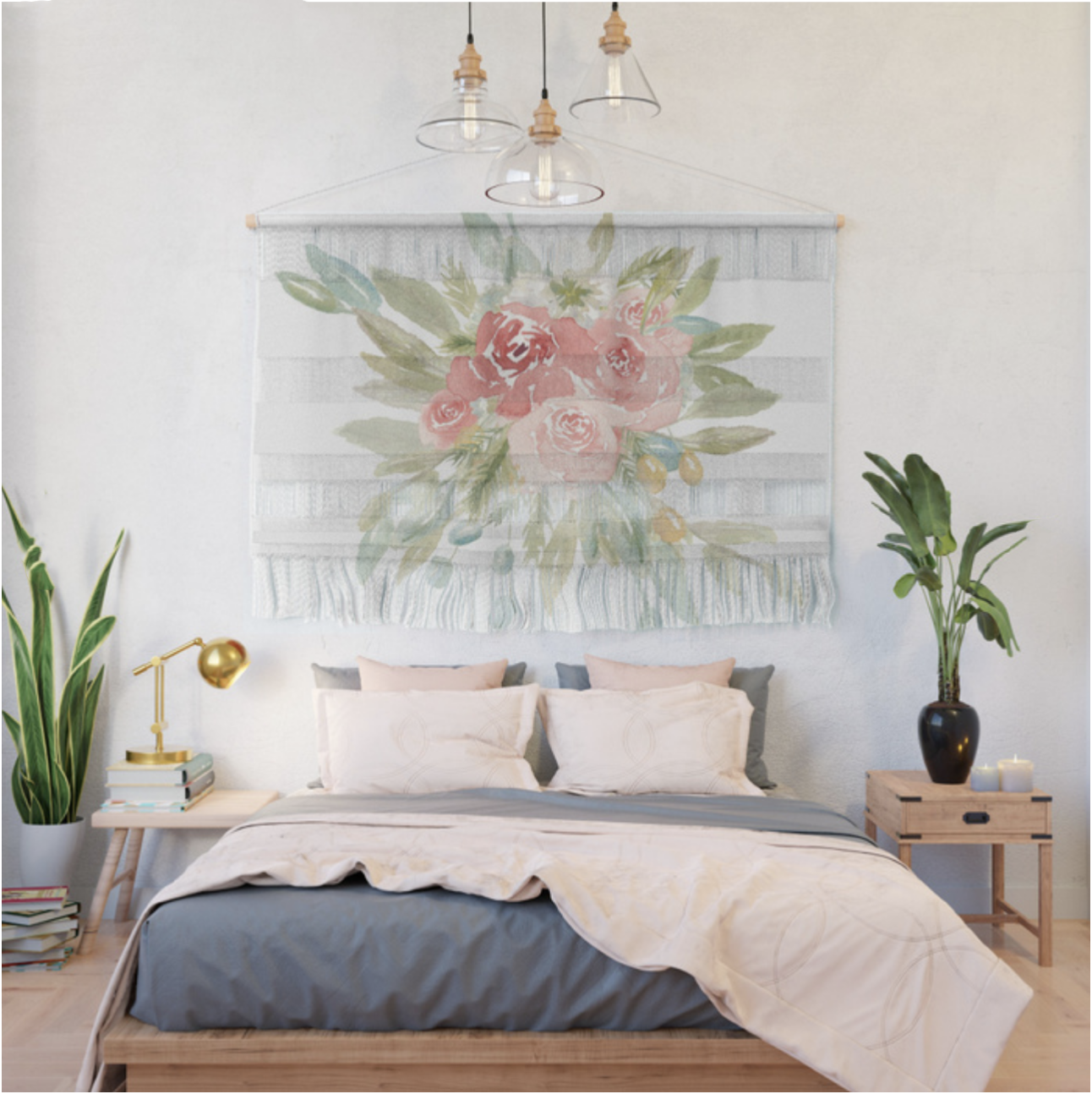 Loose Watercolor Floral Wall Hanging