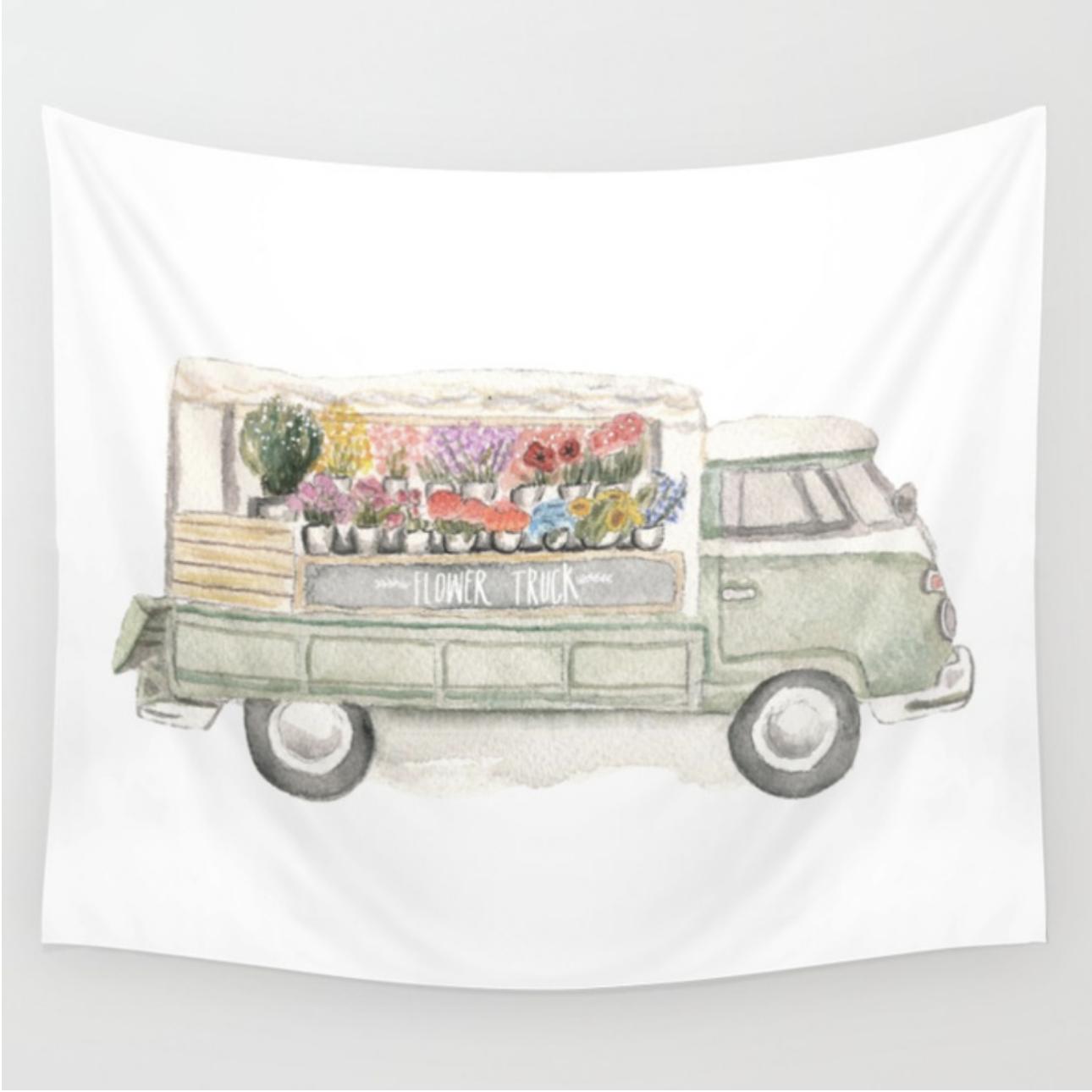 Watercolor Flower Truck Tapestry