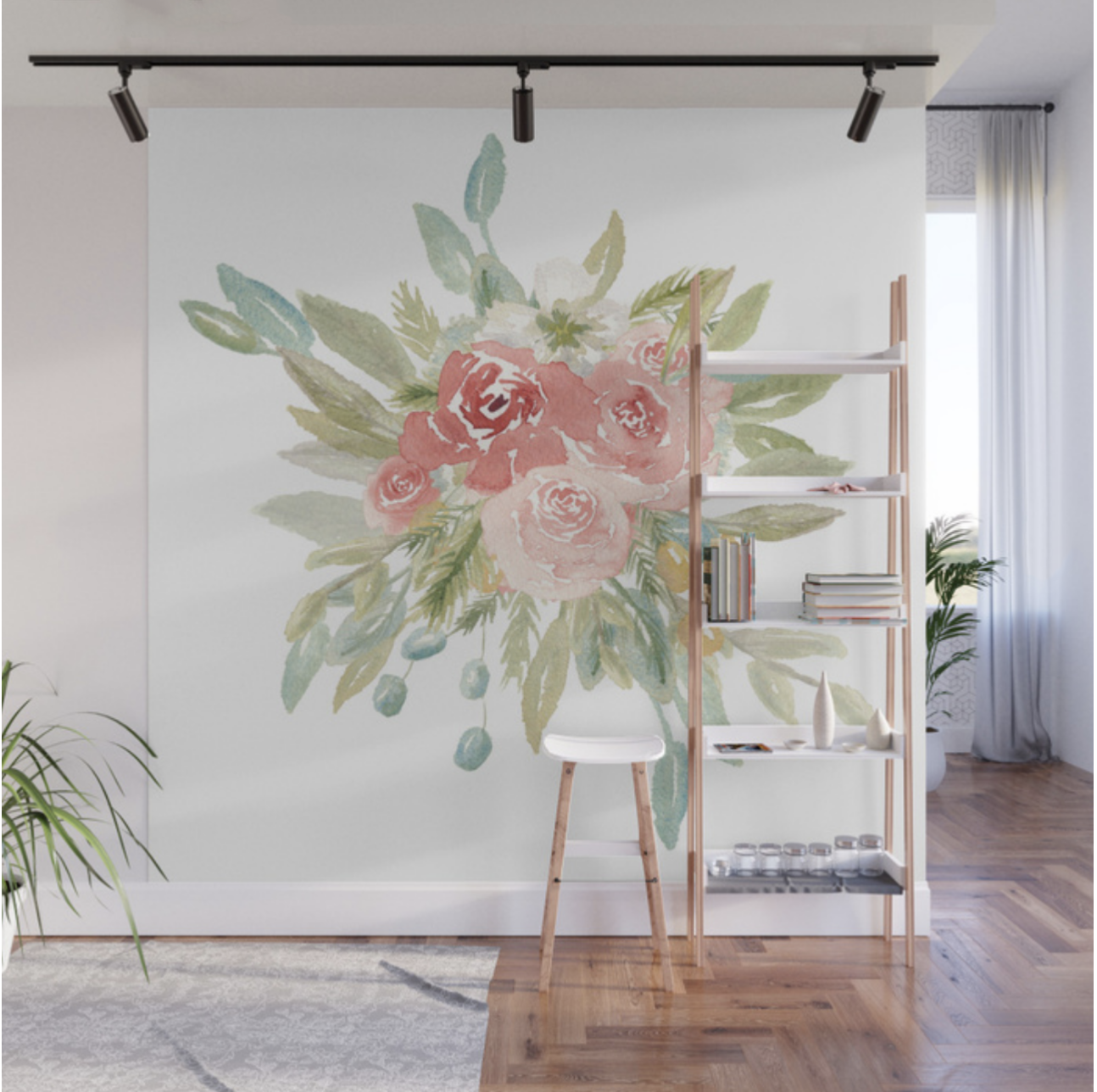 Loose Watercolor Floral Bouquet Wall Mural