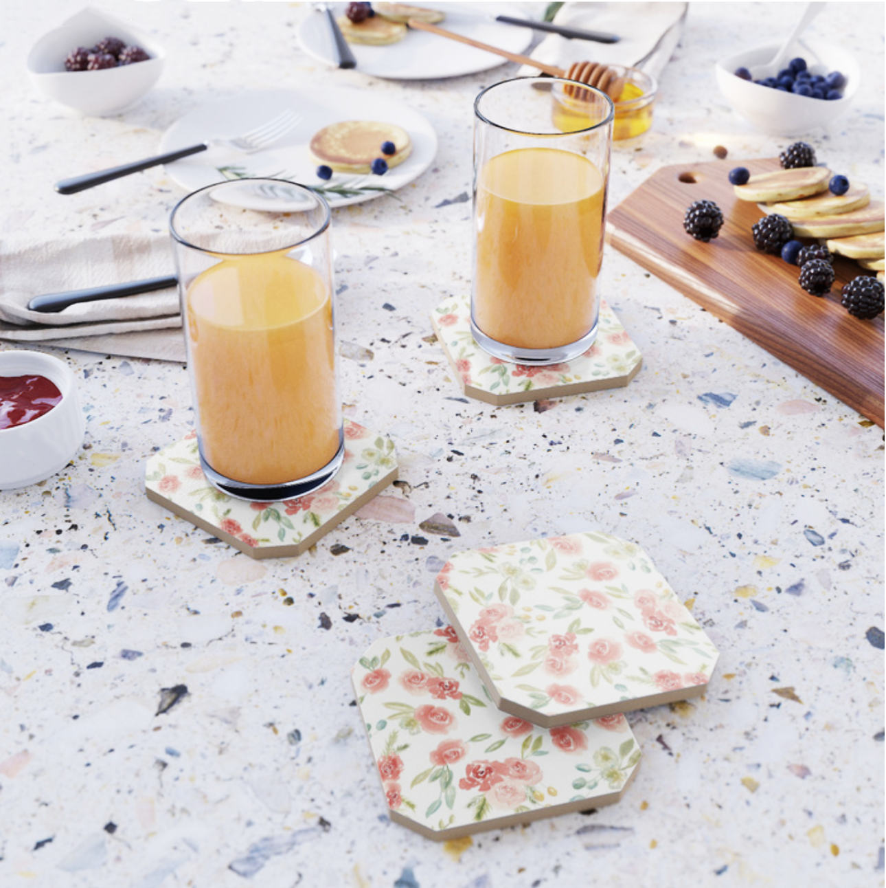 Watercolor Floral Pattern Coasters