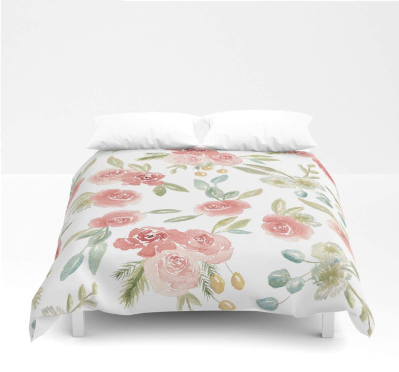 Loose Watercolor Floral Pattern Duvet Cover