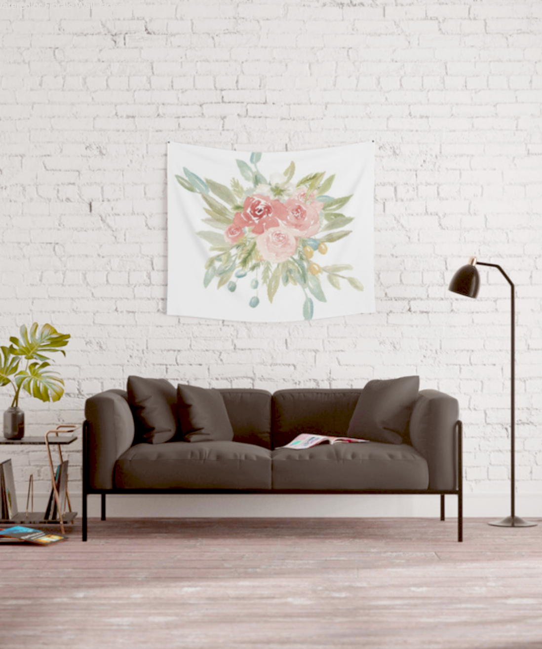 Loose Watercolor Boho Vintage Florals | Wall Tapestry | Lauren Antoniaa Design on Society 6