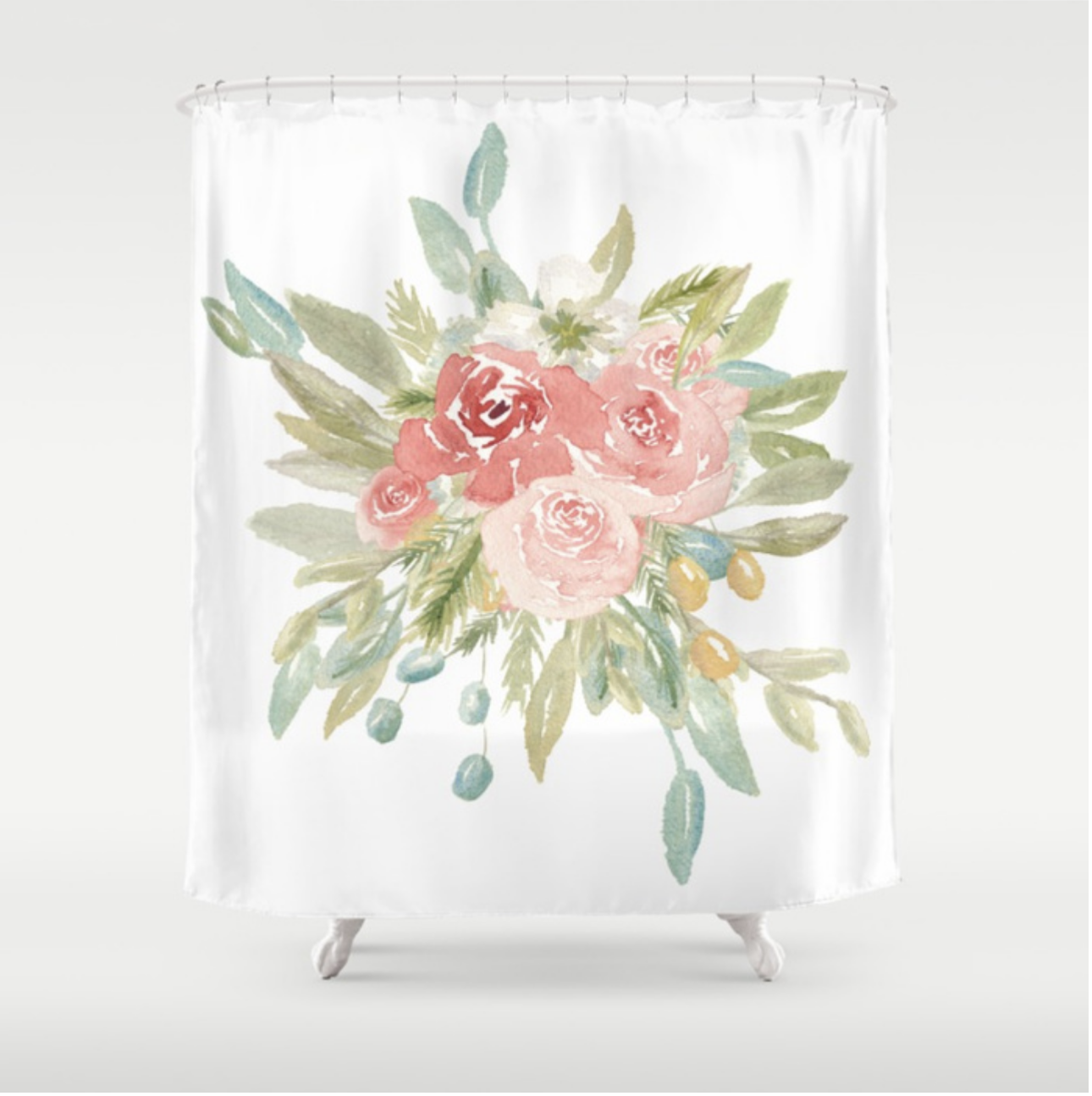 Loose Watercolor Boho Vintage Florals | Shower Curtain | Lauren Antoniaa Design on Society 6