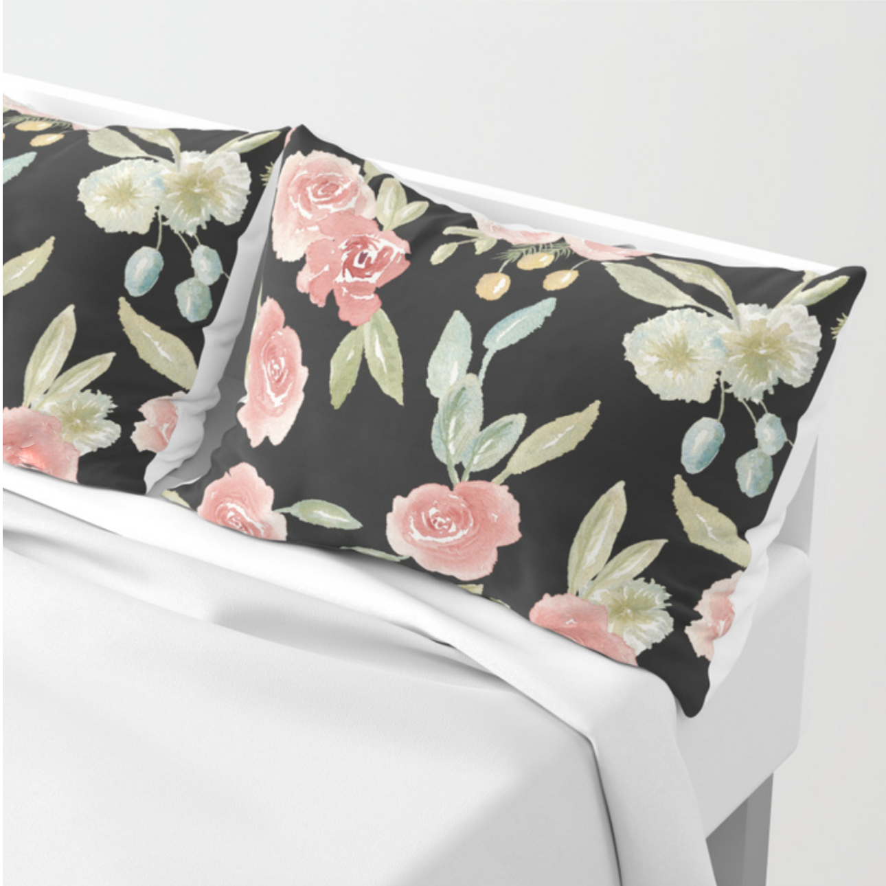 Loose watercolor vintage florals black background Pillow Cases | Lauren Antoniaa Society 6
