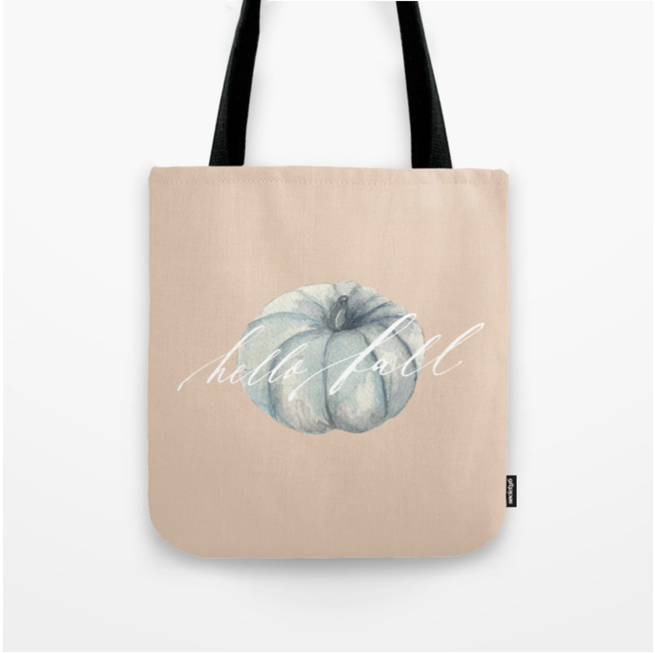 Heirloom Blue Teal Mint Pumpkin with Hello Fall and Blush Background Tote Bag | Lauren Antoniaa on Society 6