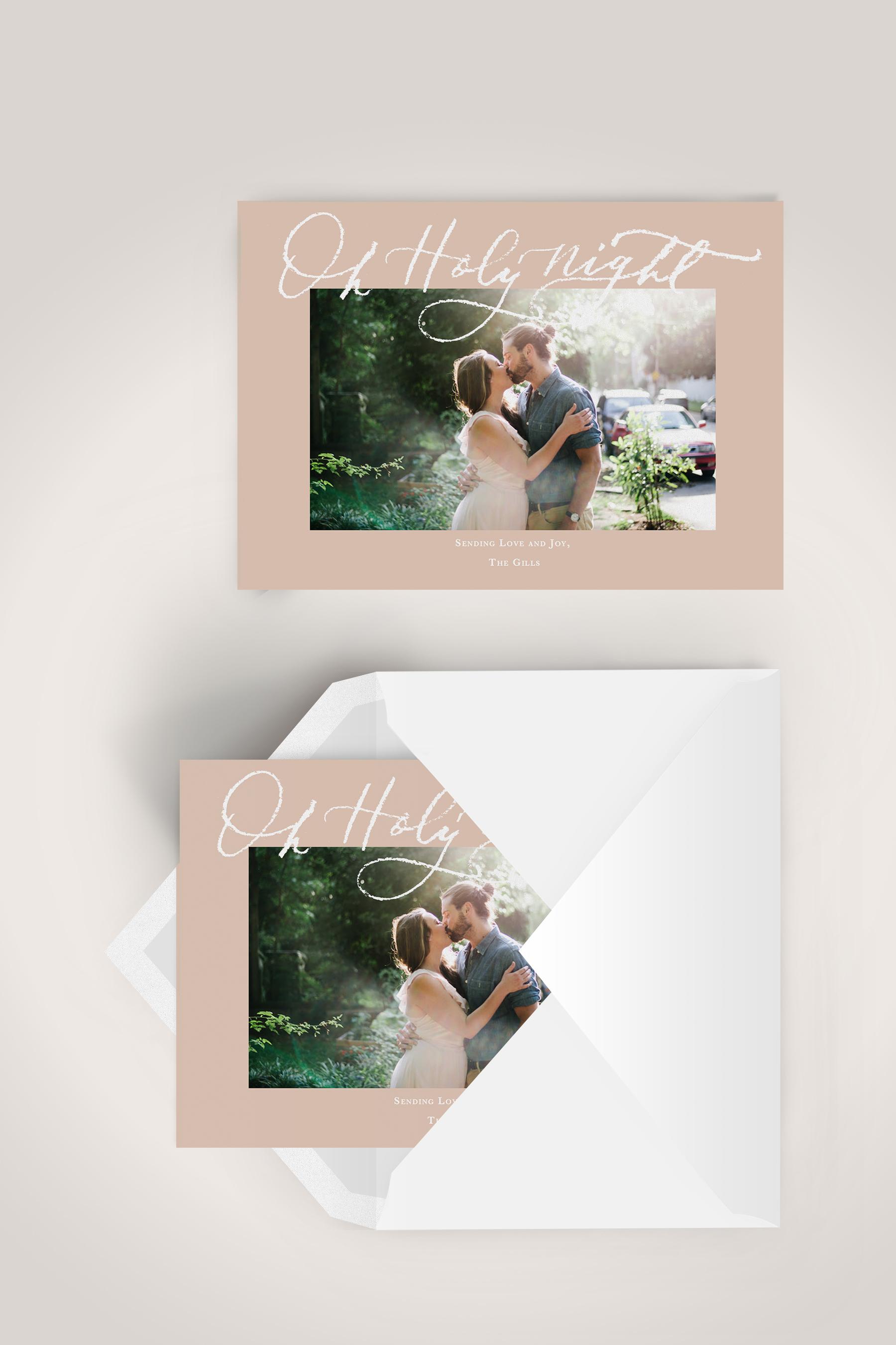 Blush and White Calligraphy Christmas Card | Custom Luxury Wedding | Lauren Antoniaa Calligraphy and Design