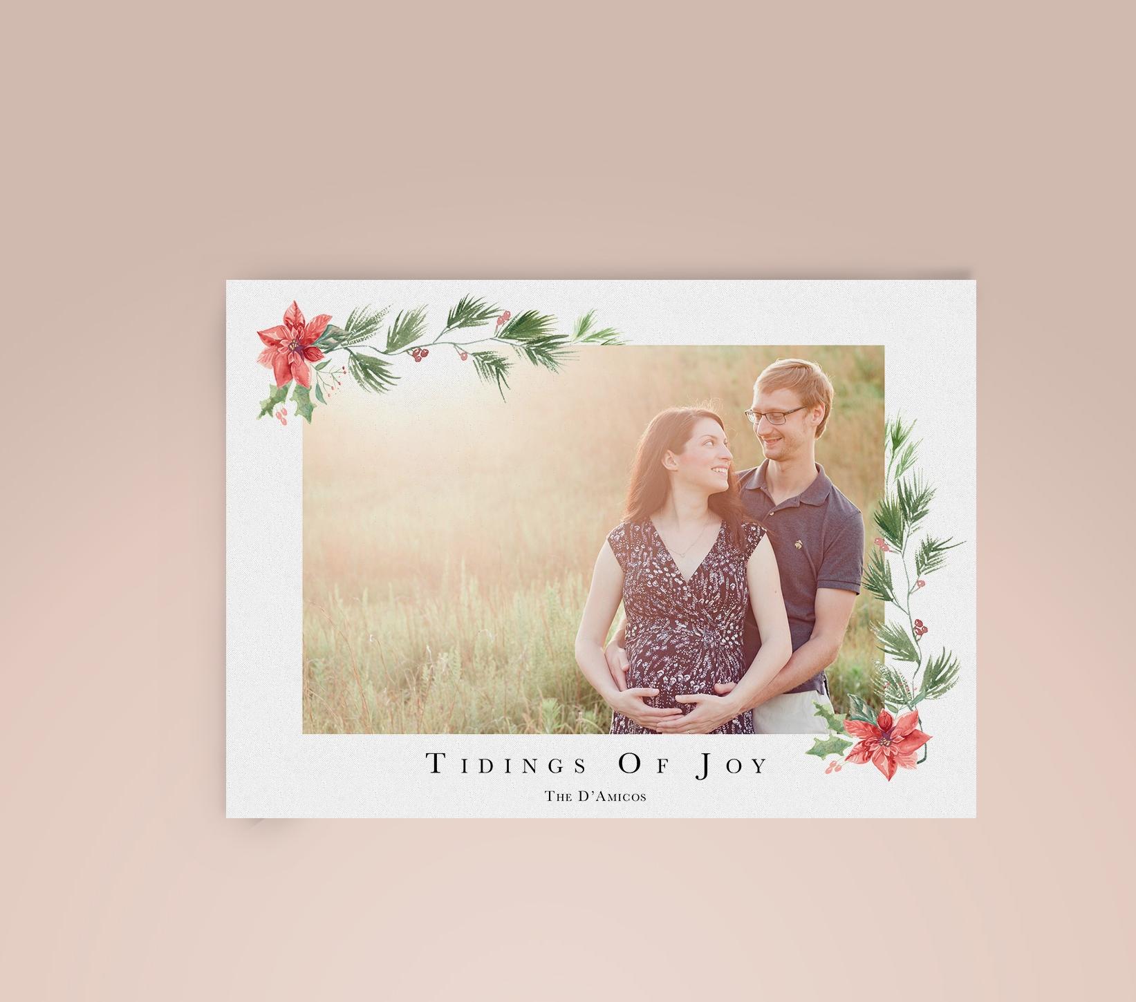 "Modern Watercolor ""Tidings of Joy"" Pregnancy Announcement Christmas Photo Card | Custom Luxury Wedding | Lauren Antoniaa Calligraphy and Design"