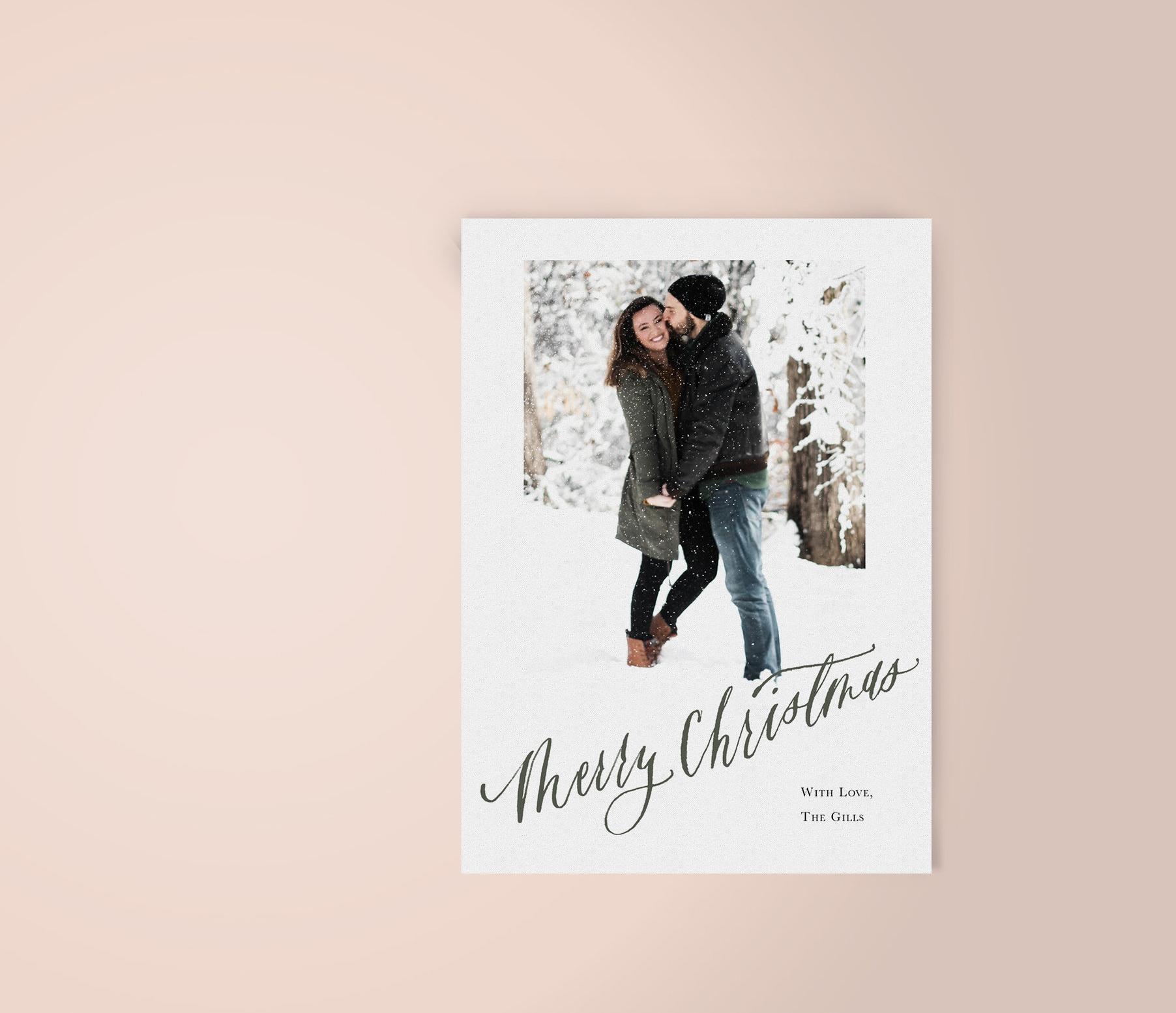 Modern Calligraphy Merry Christmas Photo Card | Custom Luxury Wedding | Lauren Antoniaa Calligraphy and Design