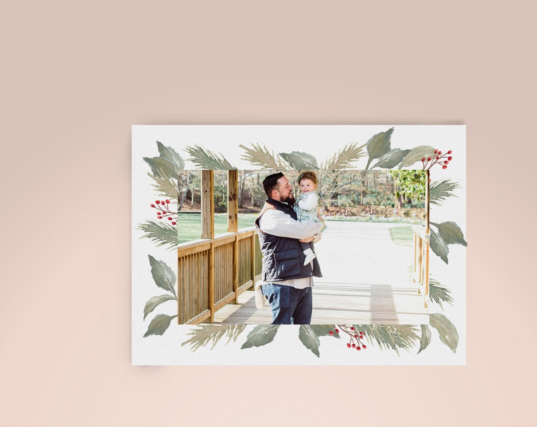 Watercolor Foliage Christmas Card | Custom Luxury Wedding | Lauren Antoniaa Calligraphy and Design