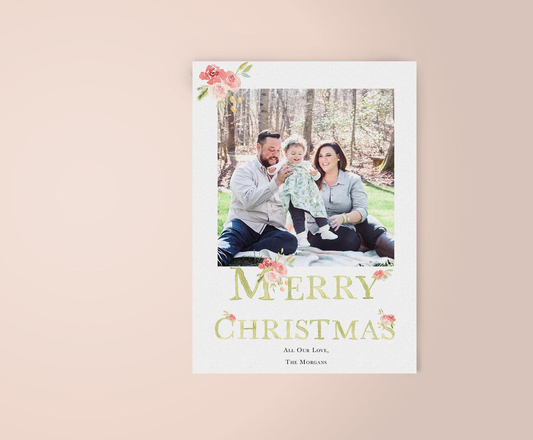 Modern Watercolor Merry Christmas Photo Card | Custom Luxury Wedding | Lauren Antoniaa Calligraphy and Design