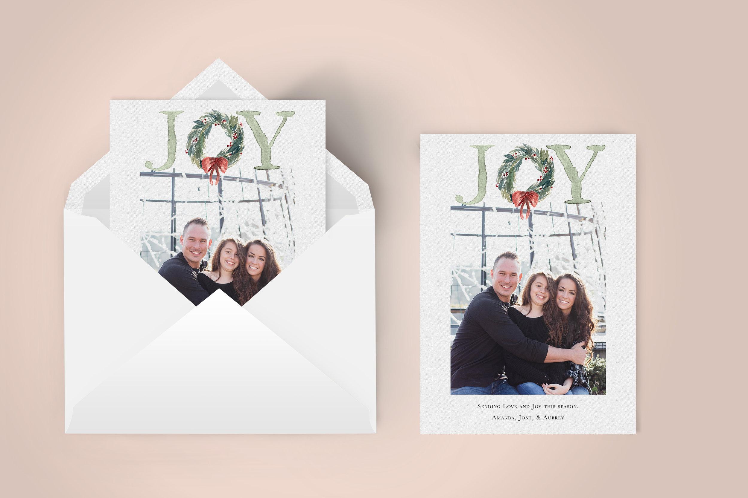 Modern Watercolor JOY with wreath Photo Card | Custom Luxury Wedding | Lauren Antoniaa Calligraphy and Design