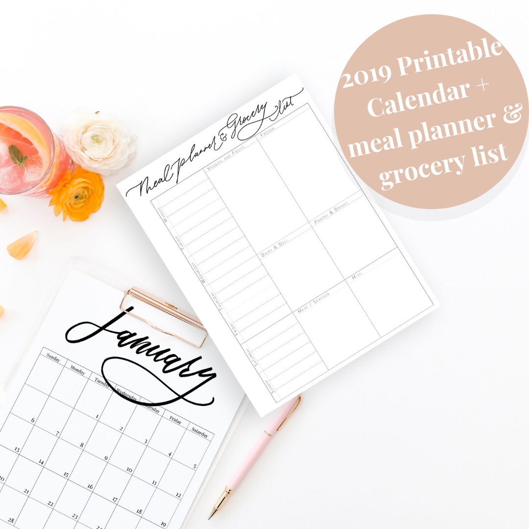 2019 Printable Calendar Minimal Modern Brush Lettering with free Meal Planner and Grocery List | custom luxury calligraphy and watercolor stationery | Lauren Antoniaa Design
