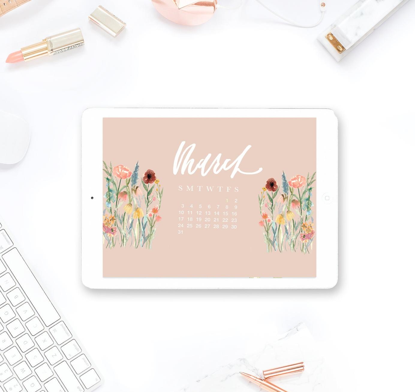 Free-March-2019-Desktop-and-iPhone-Calendar-watercolor-wildflowers-brush-calligraphy-laurenantoniaa