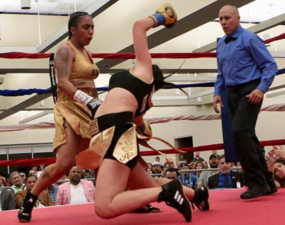 Selina Barrios, NABF Lightweight Champion with candidate for KO of the year