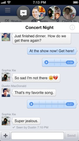 Facebook chat dots, shown here across the type can be positioned anywhere around the screen when outside of messenger mode.