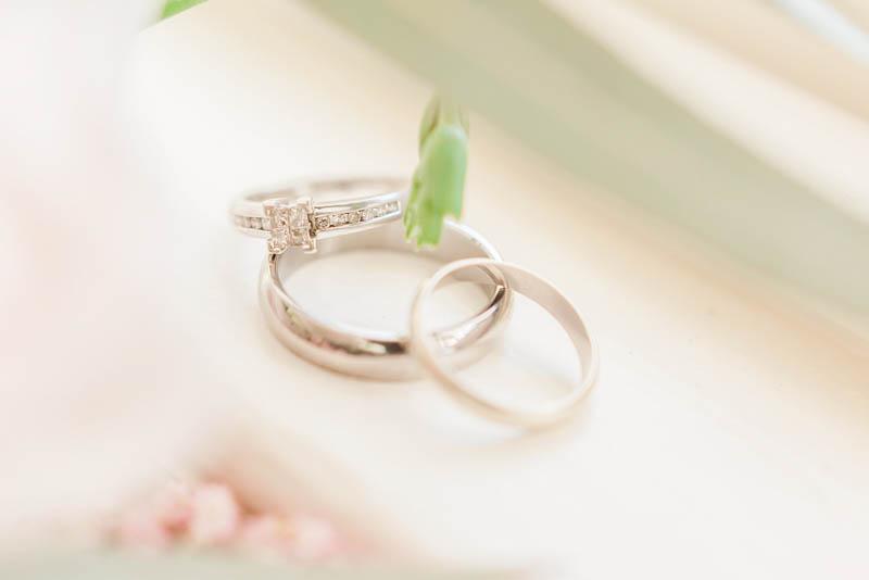 Platinum diamond wedding ring on window at Rockbeare Manor