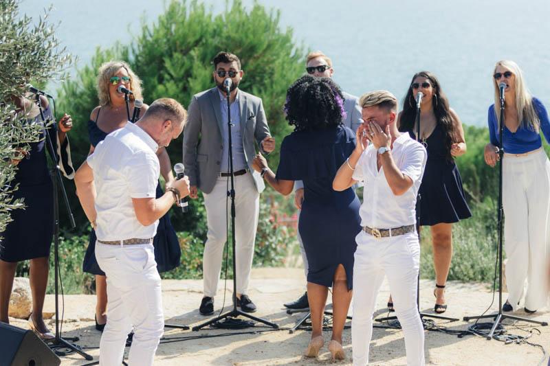 Gospeloke choir at Masia Casa Del Mar in Sitges Barcelona wedding