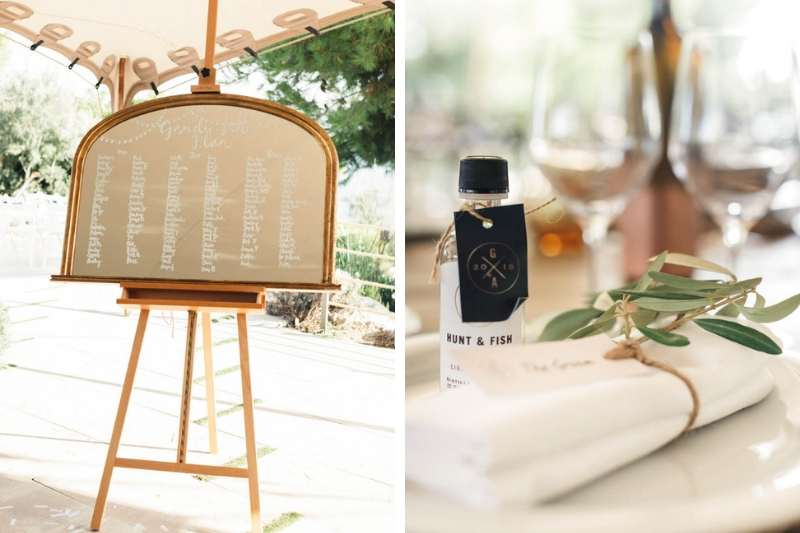 Guest table seating plan written on mirror easel